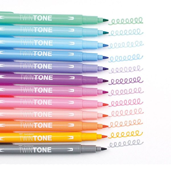 12 Rotuladores Tombow Twintone Pastel
