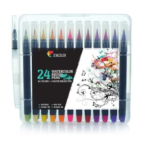24 Rotuladores Acuarelables y 1 Aqua Brush de Zenacolor