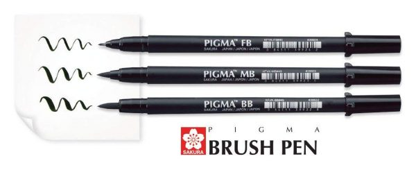 Brush Pen Sakura Pigma - 3 unidades - Color Negro