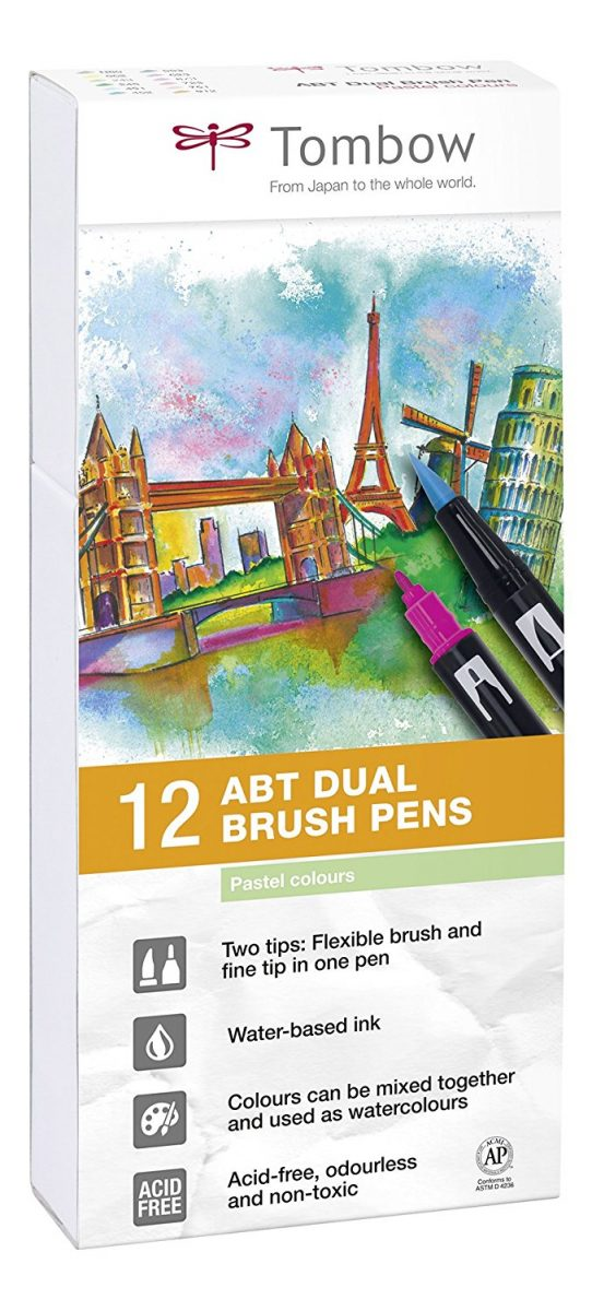 Estuche 12 rotuladores doble punta pincel - Tombow Dual Brush