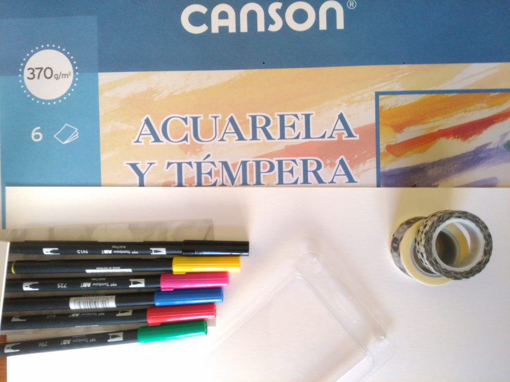 papel acuarela canson, rotuladores tombow dual brush, cintas tape