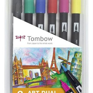 Tombow Dual Brush - Estuche 6 rotuladores doble punta pincel
