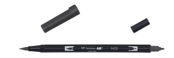 Tombow Dual Brush-N25 - Rotulador doble punta pincel, color negro