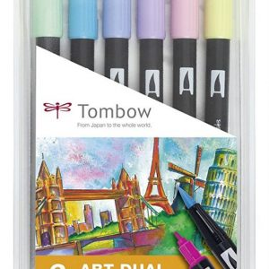 Tombow Dual Brush Pastel - Estuche 6 rotuladores Colores Pastel